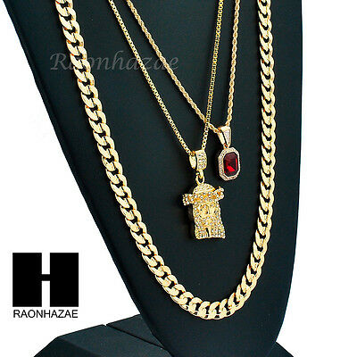 """Men Iced Out Ruby Jesus Diamond Cut 30"""" Cuban Link Box Rope Chain Necklace Sc046"""