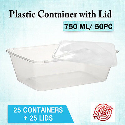 Takeaway Plastic Food Containers 750ML 50Pc Containers + 50Pc Rectangle Lids