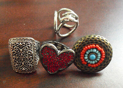 Lot of 4 Vintage Larger Ladies Costume Rings Dolphins Heart Others LOOK