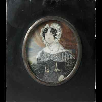Fine Antique French Portrait Miniature, Woman in Lace, Posed like Mona Lisa