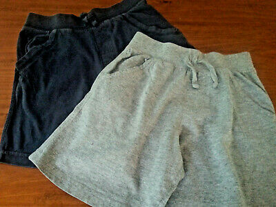 UNISEX COTTON ELASTIC WAIST PULL ON  2 Pack Grey Navy Blue SHORTS  Size 5   GUC