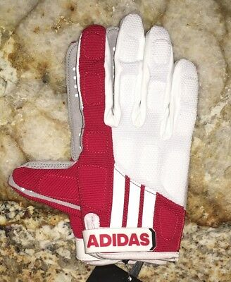ADIDAS EQT Lax White Red Grey Padded Lacrosse Gloves NEW Womens Sz XL