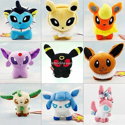 "5"" Pokemon Evolution of Eevee Umbreon Sylveon Leafeon Plush Toy Stuffed Doll"