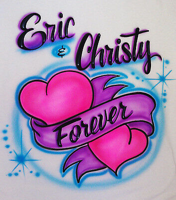 68739581aadf Airbrushed Personalized Hearts Couple Two Names T-shirt Hoodie Pillowcase