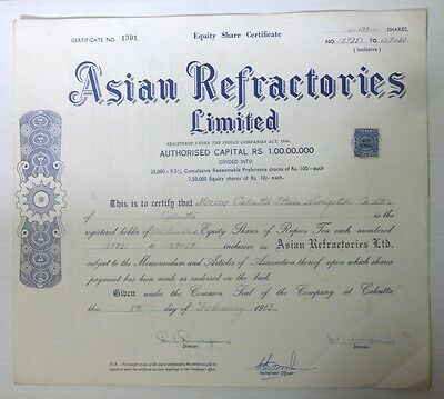 India 1963 Asian Refractories share certificate