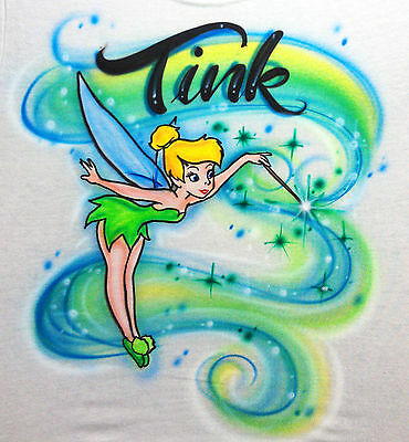 Airbrushed Personalized Fairy Tinker Bell Peter T-shirt Onesie Hoodie Pillowcase