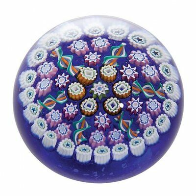 Caithness Glass Millefiori Concentric Paperweight, Blue