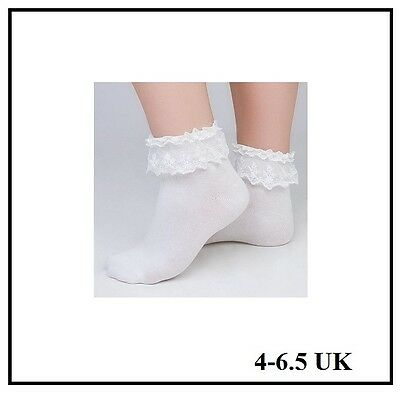 4-6.5 UK WOMENS RUFFLE FRILLY ANKLE SOCKS WHITE 50s FANCY DRESS SOCKS SCHOOL