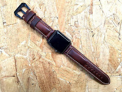 Smooth Vintage Brown Leather Watch Strap Fits Apple Watch Series 1 2 3 42mm
