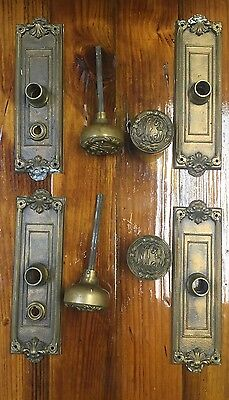 """Vintage Solid Brass Monogrammed Door Knobs With Matching Back Plates """"MCB"""""""