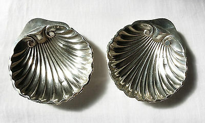 Pair 1921 George V English Sterling Silver Butter Dishes Scallop Shell Caviar