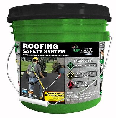 Roof Safety System Universal Harness 50' Lifeline Roofing Fall Protection Bucket