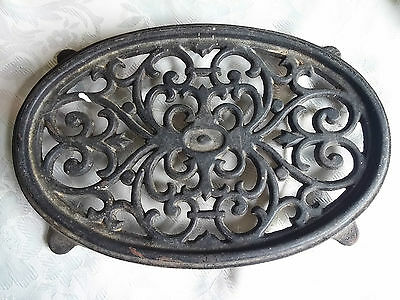 Ornate Antique Cast Iron Footed Trivet Kitchenware