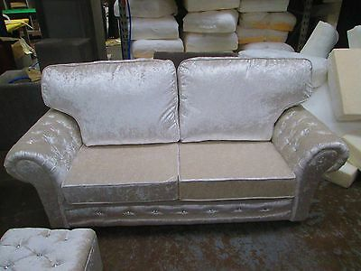 Brand New Vermont 3+2 Seater Sofa In Crushed Velvet In Pearl With Diamante