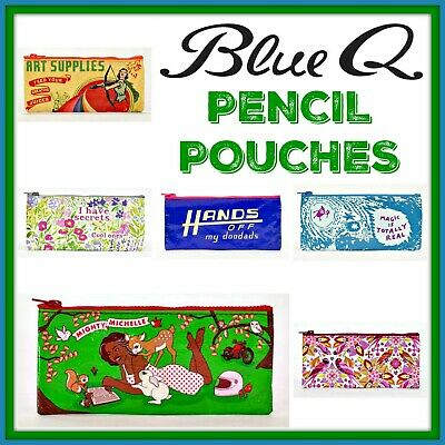 Buy 1 Get 1 50% OFF Blue Q PENCIL Zipper Pouch Case Makeup Travel 95% Recycled