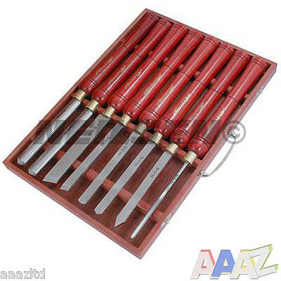 Wood Turning Chisels 8 Piece Long Handles Lathe HSS Steel Blade