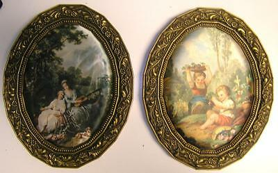 """Two Vintage Ornate Resin Frames 9 x 5 1/2"""" Art Cameo images Silk fabric"""