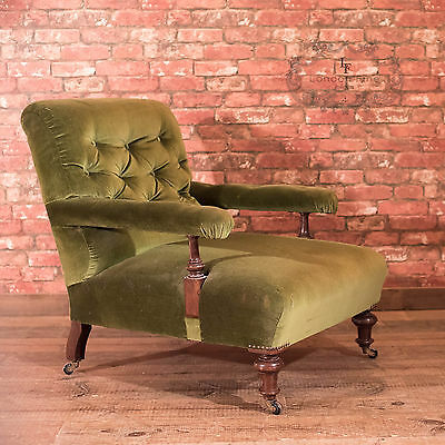 Antique Armchair, Victorian Button Back Arm Chair, English, Walnut, Club c1900