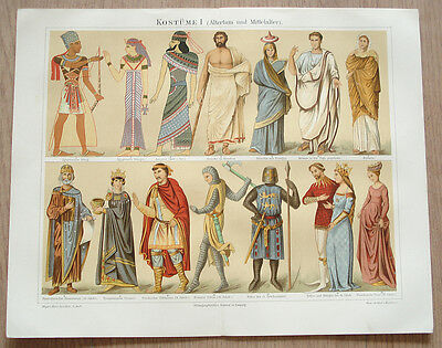 Ancient Medieval Egyptian Greek Roman Byzantine Costumes ~Chromolithograph Plate