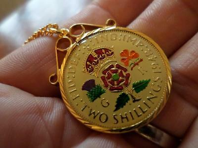 Vintage Enamelled Two Shilling Coin 1948 Pendant & Necklace. Birthday Present