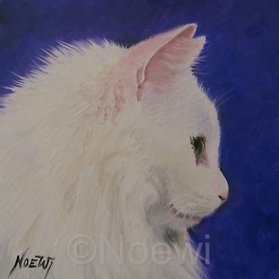 WHITE CAT 10x10 signed PRINT animal kitty by NOEWI
