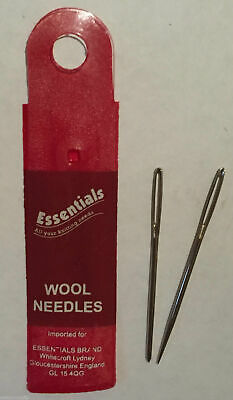 2x Wool Hand Sewing Knitting Needles Large Eye - Whitecroft Essentials Free P+P