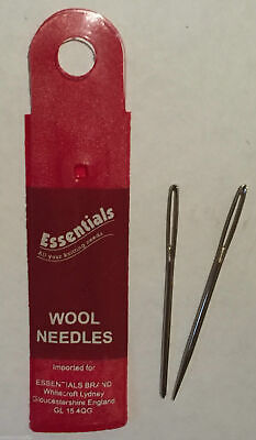 2x Wool Hand Sewing Knittng Needles Large Eye - Whitecroft Essentials Free P+P