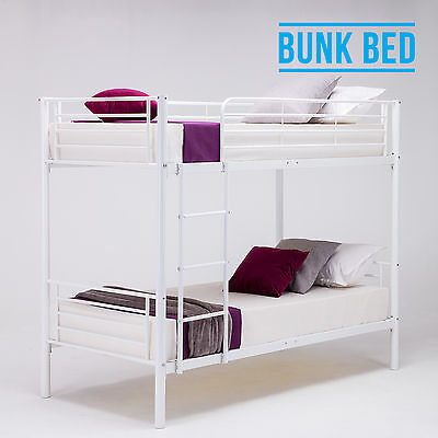 2x3FT Single Metal Bunk Bed Frame 2 Person for Adult Children Black/White/Silver