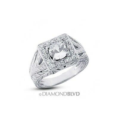 1.59ct E/VS2/Ex Round Earth Mined Diamonds 18K Vintage Engraved Accents Ring 11g