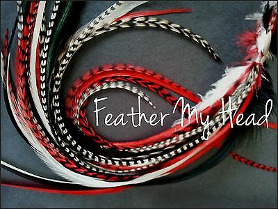 16 Pc Feather Hair Extension Kit  -Do It Yourself  DIY With Beads, Pulling Tool