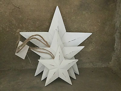 Heaven Sends shabby chic white painted wooden stars set of 3