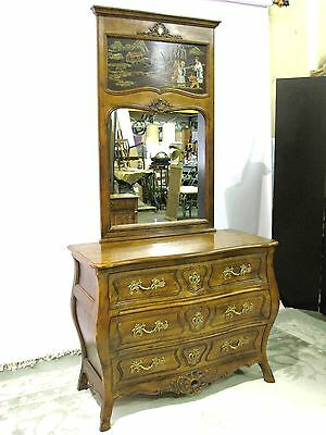 "Henredon ""Villandry""  Bombe 3 -Drawer Chest & Mirror With Painted Asian Scene"