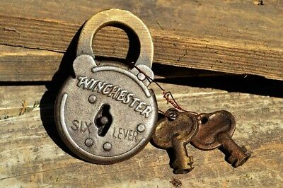Winchester Repeating Arms Co. Six Lever Padlock Replica - Lock & Key - Old West