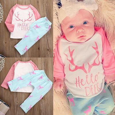 Newborn Infant Baby Girl Clothes Deer Tops T-shirt Long Sleeve+Pants Outfits Set