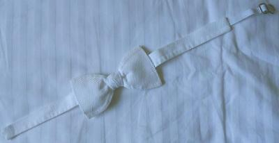 True Antique Vintage Mens Formal Evening White Bow Tie Dickie Textured Cotton #2