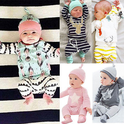 Newborn Baby Girl Boy Outfits Long Sleeve T-shirt Top+Pants+Hat 3PCS Clothes Set