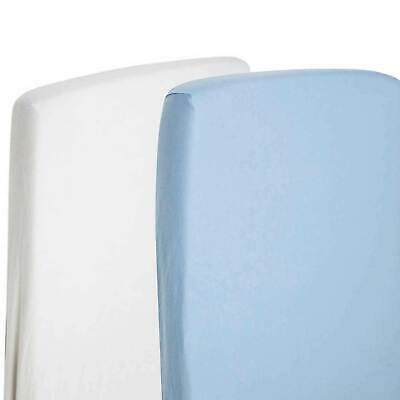 2x Fitted Sheets Compatible With Chicco Next 2 Me 100% Cotton- White / Blue