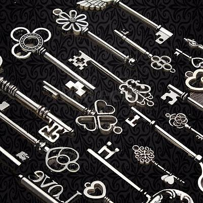 20Pcs Antique Vintage Skeleton Keys Pendants Old Look Silver Jewelry Bow Lock