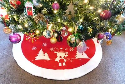 Christmas Tree Skirt Red/White With Reindeer and Snowflakes Fully Lined  - 91cm
