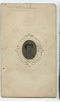 Antique Gem Tintype Photo Miss Walker Young Woman