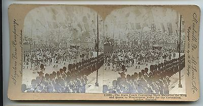Antique Stereoview King and Queen State Coach Westminster Abbey  Coronation