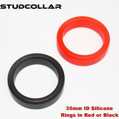 STUDCOLLAR-SILICONE-INDIVIDUAL - Black or Red Strong Rubber 35mm ID Fun Rings