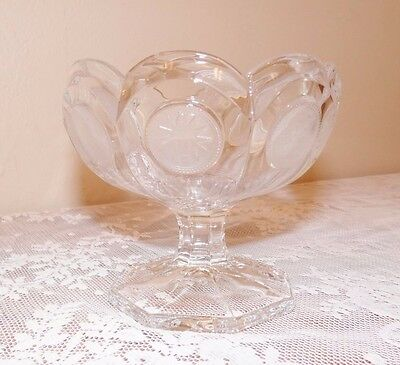 Antique Coin Glass Compote Candy Dish Footed Base Presidential Seal Fostoria