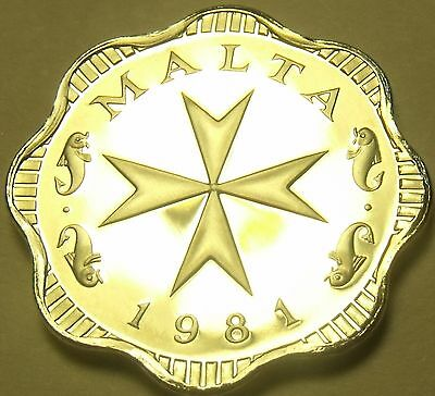 Rare Proof Malta 1981 2 Mils~Maltese Cross~1,453 Minted~Incredible~Free Shipping