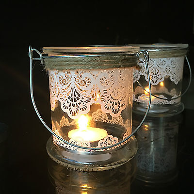 Set of 2 Clear Glass Hanging Tea Light Holders Candle Jar Lantern Wedding Decor