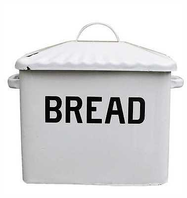 Creative Co-op Vintage Look White Enameled Bread Box