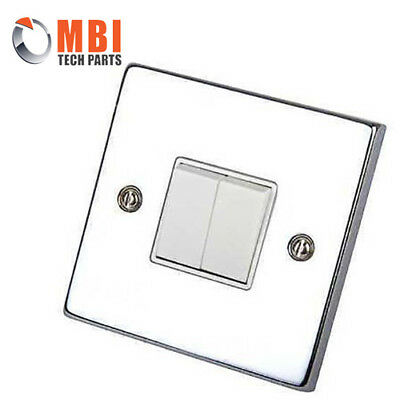 Click DECO Polished Chrome 10A 2G 2way Gang Light Switch White Inserts VPCH012WH