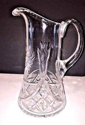 Vtg Am Brilliant Cut Glass Crystal Pitcher Clean Elegant Hobstar Pinwheel Design