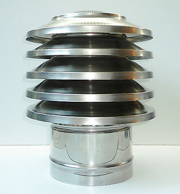 CHIMNEY COWL Stainless Steel Rain Cap Anti Down Draught INOX to fit 80 to 250mm