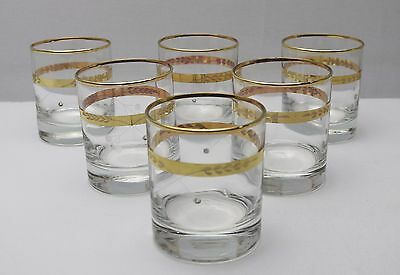 New Set of 6 Glass Tumblers With Gold Trim 26248